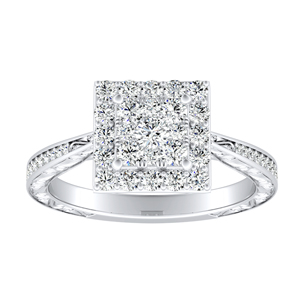 NORA Halo Diamond Engagement Ring In 14K White Gold With Princess Diamond In H-I SI1-SI2 Quality