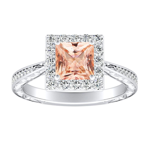 NORA Halo Morganite Engagement Ring In 14K White Gold With 4.00 Carat Princess Stone