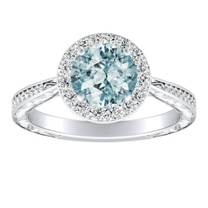NORA Halo Aquamarine Engagement Ring In 14K White Gold With 1.00 Carat Round Stone