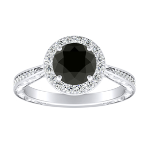 NORA Halo Black Diamond Engagement Ring In 14K White Gold With 0.50 Carat Round Diamond