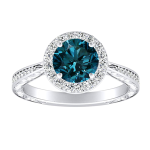 NORA  Halo  Blue  Diamond  Engagement  Ring  In  14K  White  Gold  With  0.50  Carat  Round  Diamond