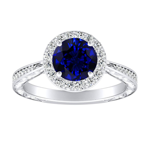 NORA Halo Blue Sapphire Engagement Ring In 14K White Gold With 0.50 Carat Round Stone
