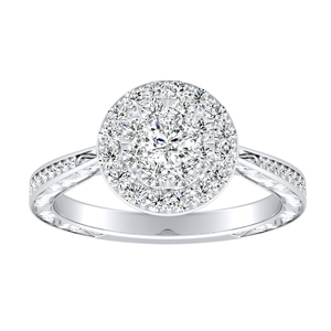 NORA Halo Diamond Engagement Ring In 14K White Gold With Round Diamond In H-I SI1-SI2 Quality