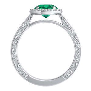 NORA  Halo  Green  Emerald  Engagement  Ring  In  14K  White  Gold  With  0.50  Carat  Round  Stone