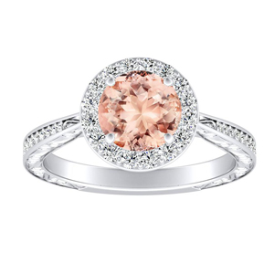 NORA Halo Morganite Engagement Ring In 14K White Gold With 1.00 Carat Round Stone