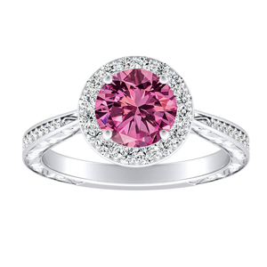 NORA  Halo  Pink  Sapphire  Engagement  Ring  In  14K  White  Gold  With  0.50  Carat  Round  Stone