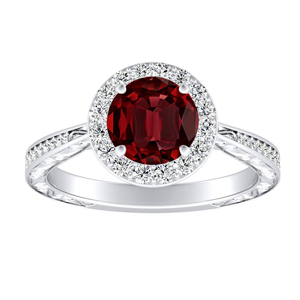 NORA Halo Ruby Engagement Ring In 14K White Gold With 0.50 Carat Round Stone