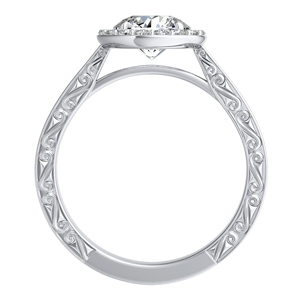 NORA Halo Diamond Engagement Ring In 14K White Gold With 0.50ct. Round Diamond