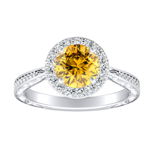 NORA  Halo  Yellow  Diamond  Engagement  Ring  In  14K  White  Gold  With  0.50  Carat  Round  Diamond