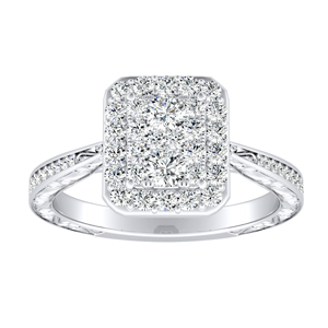 NORA Halo Diamond Engagement Ring In 14K White Gold With Radiant Diamond In H-I SI1-SI2 Quality