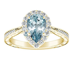 NORA  Halo  Aquamarine  Engagement  Ring  In  14K  Yellow  Gold  With  1.00  Carat  Pear  Stone