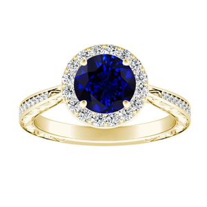 NORA Halo Blue Sapphire Engagement Ring In 14K Yellow Gold With 0.50 Carat Round Stone