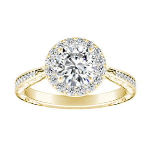 NORA Halo Diamond Engagement Ring In 14K Yellow Gold