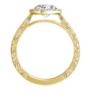NORA  Halo  Moissanite  Wedding  Ring  Set  In  14K  Yellow  Gold  With  0.50  Carat  Round  Stone