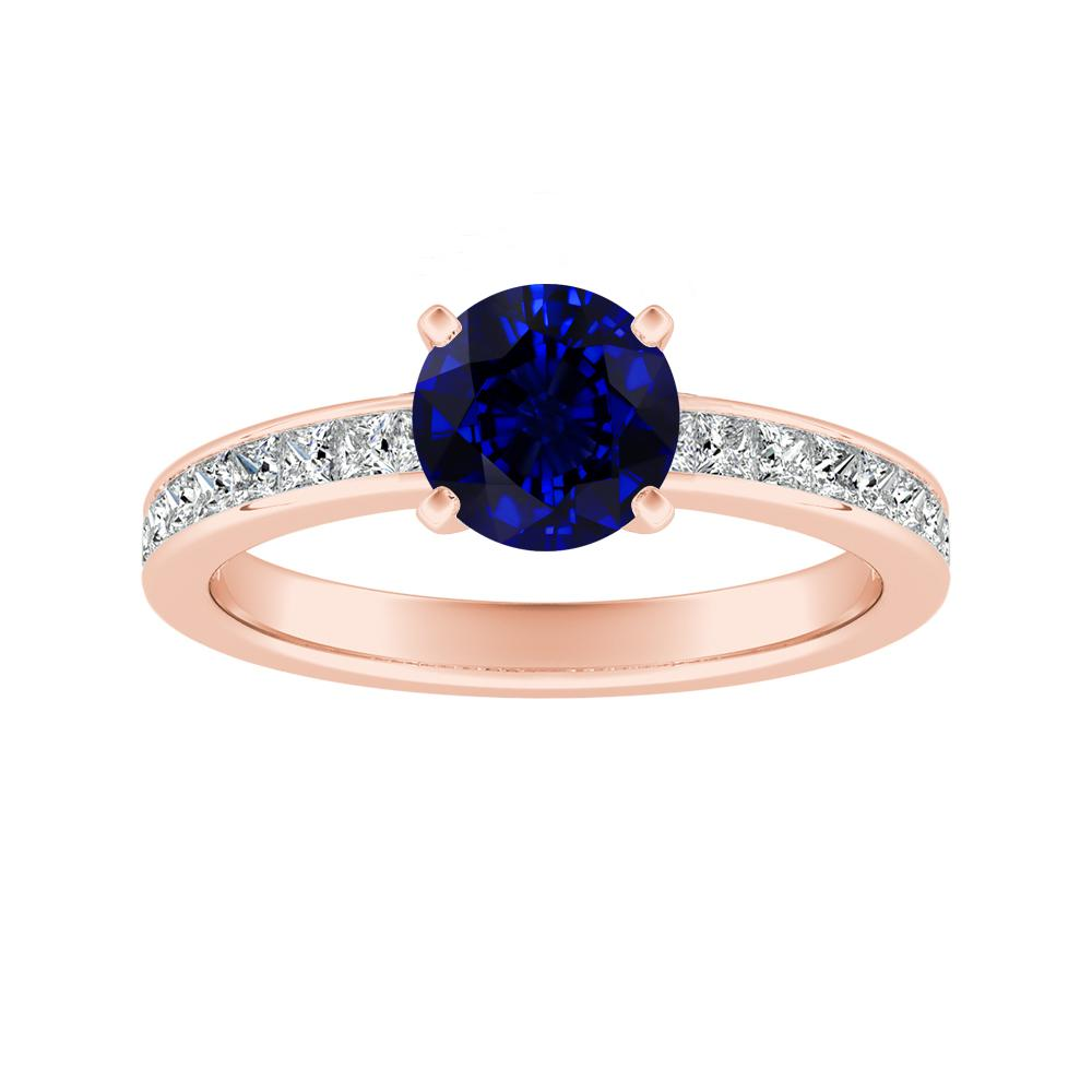 JOAN Classic Blue Sapphire Engagement Ring In 14K Rose Gold With 0.50 Carat Round Stone