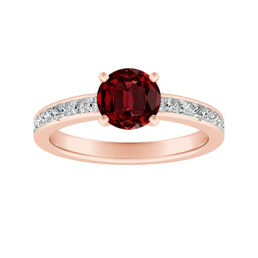 JOAN Classic Ruby Engagement Ring In 14K Rose Gold With 0.50 Carat Round Stone