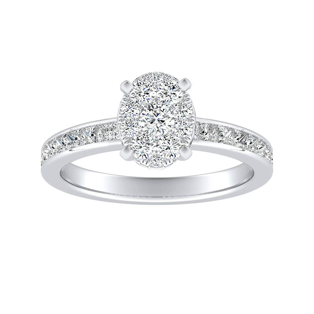 JOAN Classic Diamond Engagement Ring In 14K White Gold With Oval Diamond In H-I SI1-SI2 Quality