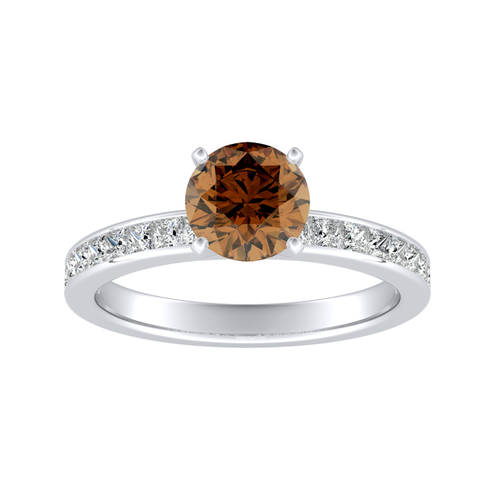 JOAN Classic Brown Diamond Engagement Ring In 14K White Gold With 0.50 Carat Round Diamond