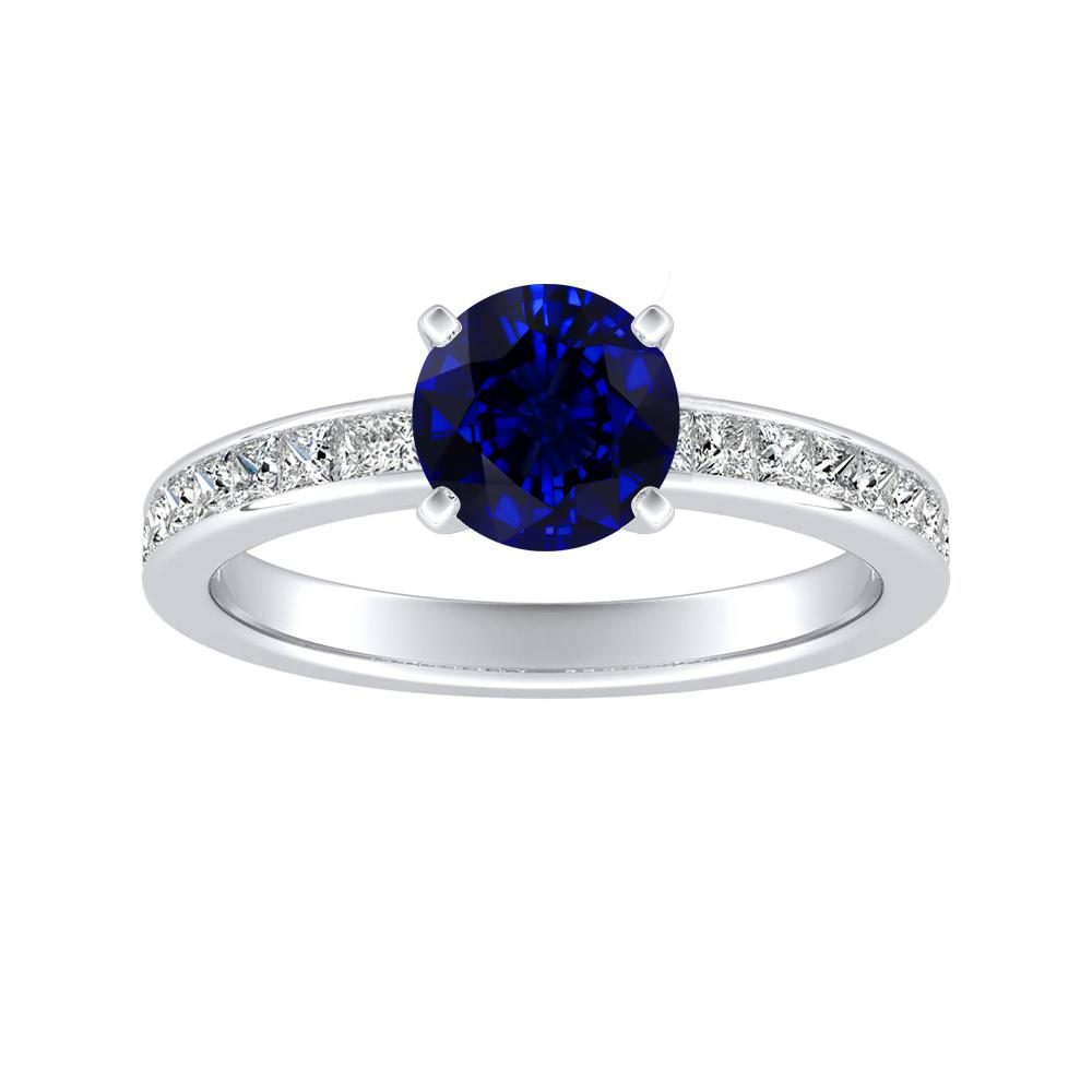 JOAN Classic Blue Sapphire Engagement Ring In 14K White Gold With 0.50 Carat Round Stone