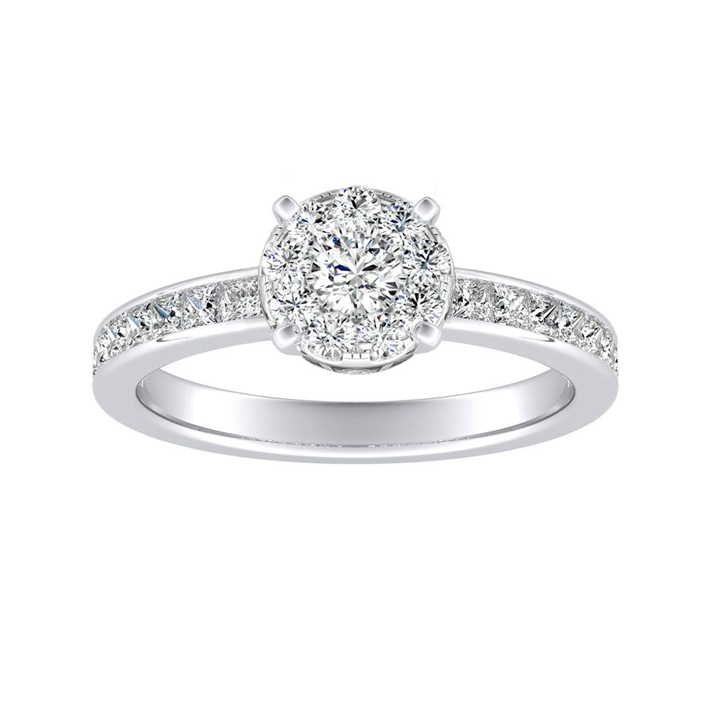 JOAN Classic Diamond Engagement Ring In 14K White Gold With Round Diamond In H-I SI1-SI2 Quality