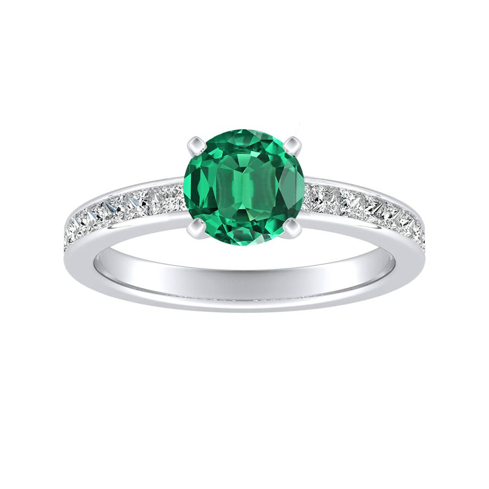 JOAN Classic Green Emerald Engagement Ring In 14K White Gold With 0.30 Carat Round Stone