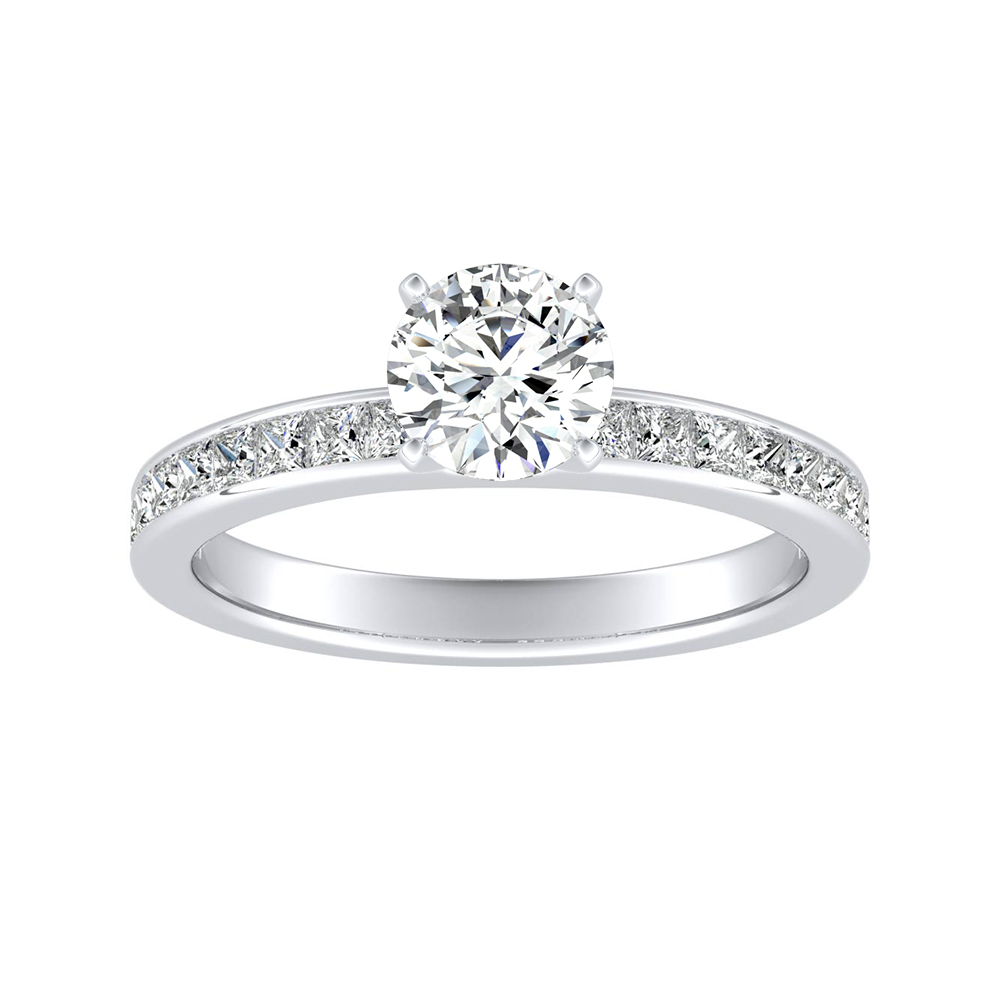 JOAN Classic Moissanite Engagement Ring In 14K White Gold With 0.50 Carat Round Stone