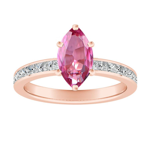 JOAN  Classic  Pink  Sapphire  Engagement  Ring  In  14K  Rose  Gold  With  0.50  Carat  Marquise  Stone