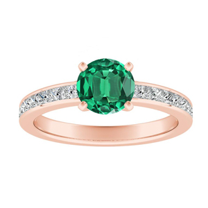 JOAN Classic Green Emerald Engagement Ring In 14K Rose Gold With 0.50 Carat Round Stone