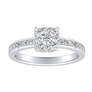 JOAN Classic Diamond Engagement Ring In 14K White Gold With Cushion Diamond In H-I SI1-SI2 Quality