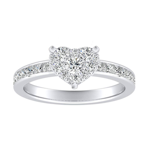 JOAN Classic Diamond Engagement Ring In 14K White Gold With Heart Diamond In H-I SI1-SI2 Quality