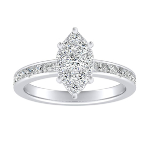 JOAN Classic Diamond Engagement Ring In 14K White Gold With Marquise Diamond In H-I SI1-SI2 Quality