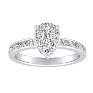 JOAN Classic Diamond Engagement Ring In 14K White Gold With Pear Diamond In H-I SI1-SI2 Quality