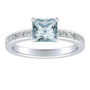 JOAN Classic Aquamarine Engagement Ring In 14K White Gold With 3.00 Carat Princess Stone