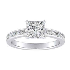 JOAN Classic Diamond Engagement Ring In 14K White Gold With Princess Diamond In H-I SI1-SI2 Quality