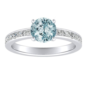 JOAN Classic Aquamarine Engagement Ring In 14K White Gold With 1.00 Carat Round Stone