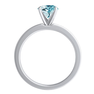 JOAN  Classic  Aquamarine  Wedding  Ring  Set  In  14K  White  Gold  With  1.00  Carat  Round  Stone