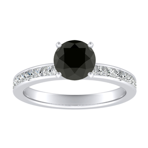 JOAN Classic Black Diamond Engagement Ring In 14K White Gold With 0.50 Carat Round Diamond
