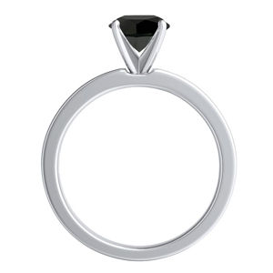 JOAN  Classic  Black  Diamond  Engagement  Ring  In  14K  White  Gold  With  1.00  Carat  Princess  Diamond