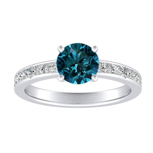 JOAN Classic Blue Diamond Engagement Ring In 14K White Gold With 0.30 Carat Round Diamond