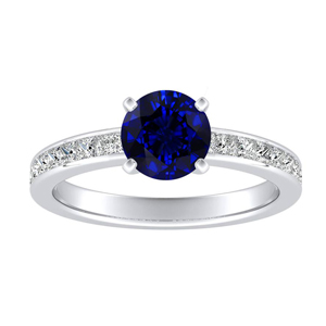 JOAN Classic Blue Sapphire Engagement Ring In 14K White Gold With 0.30 Carat Round Stone