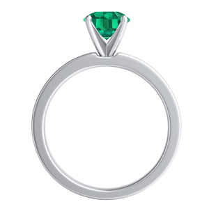 JOAN  Classic  Green  Emerald  Engagement  Ring  In  14K  White  Gold  With  0.50  Carat  Emerald  Stone