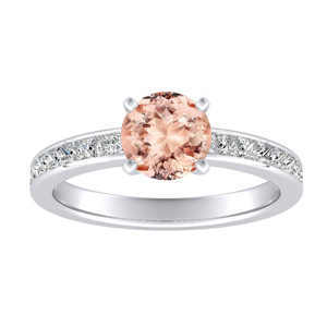 JOAN Classic Morganite Engagement Ring In 14K White Gold With 1.00 Carat Round Stone