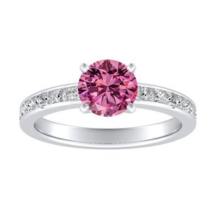 JOAN Classic Pink Sapphire Engagement Ring In 14K White Gold With 0.50 Carat Round Stone