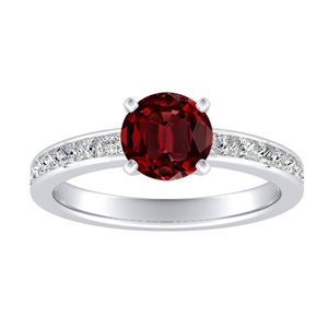 JOAN Classic Ruby Engagement Ring In 14K White Gold With 0.50 Carat Round Stone
