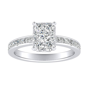JOAN Classic Diamond Engagement Ring In 14K White Gold With Radiant Diamond In H-I SI1-SI2 Quality