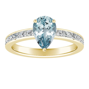 JOAN  Classic  Aquamarine  Engagement  Ring  In  14K  Yellow  Gold  With  1.00  Carat  Pear  Stone
