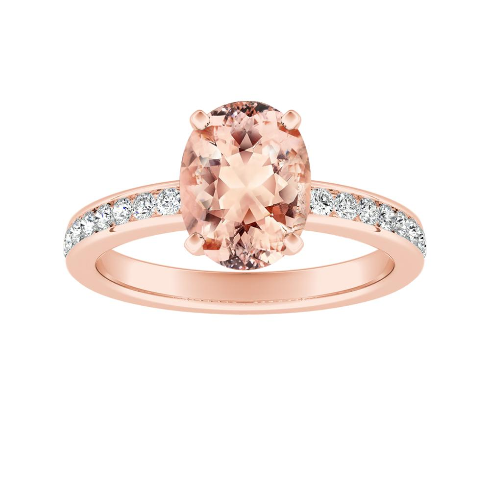ALENA Classic Morganite Engagement Ring In 14K Rose Gold With 1.00 Carat Oval Stone