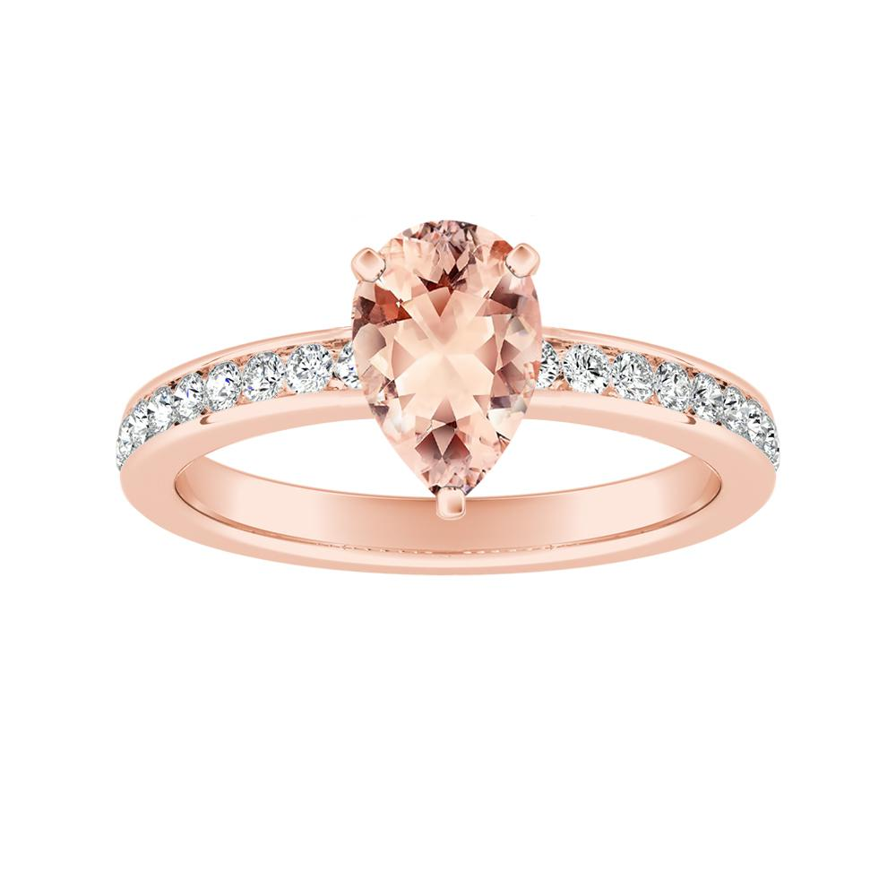 ALENA Classic Morganite Engagement Ring In 14K Rose Gold With 1.00 Carat Pear Stone