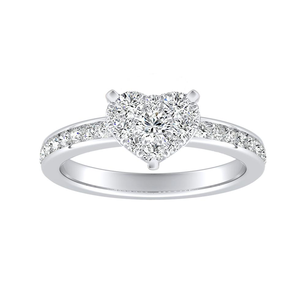 ALENA Classic Diamond Engagement Ring In 14K White Gold With Heart Diamond In H-I SI1-SI2 Quality