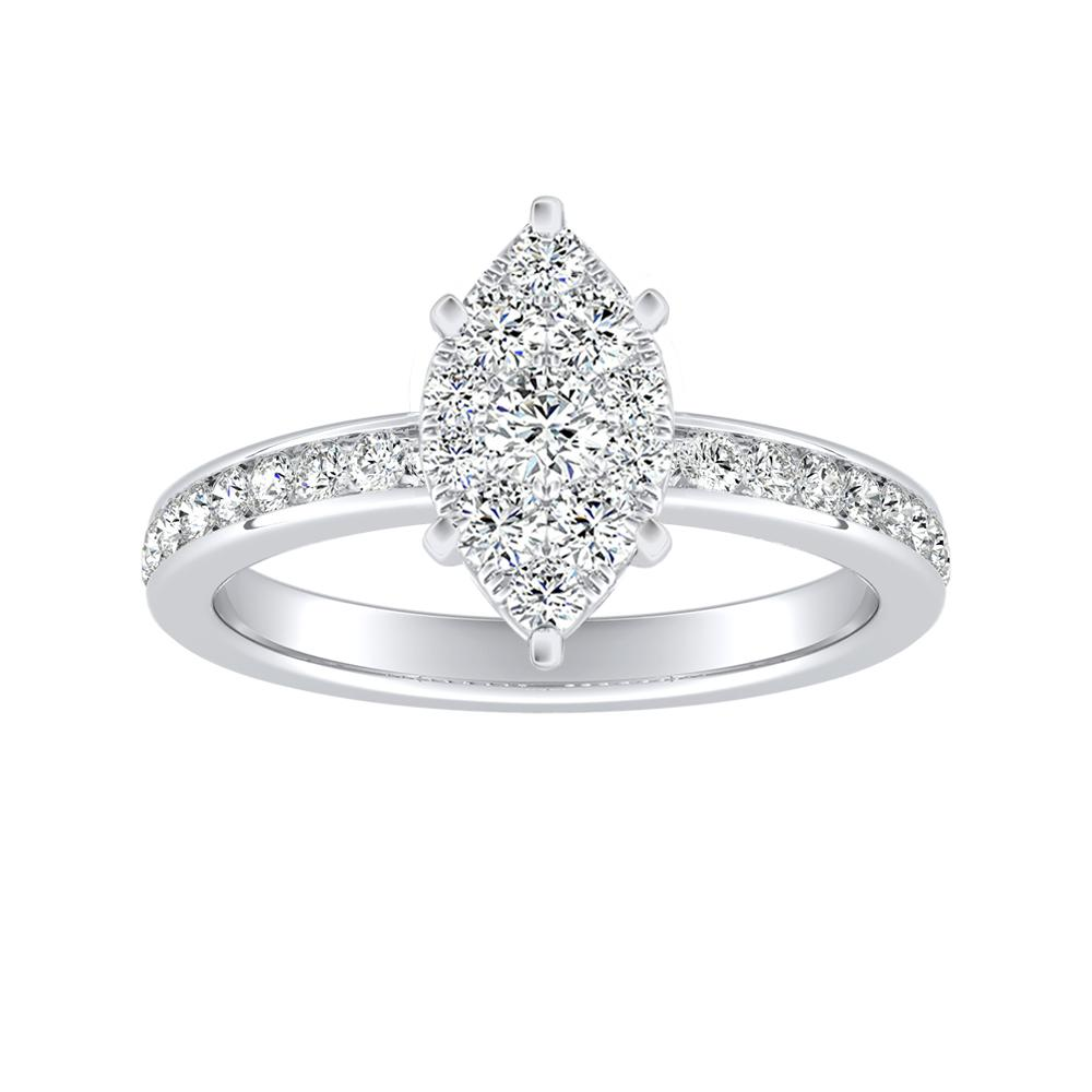 ALENA Classic Diamond Engagement Ring In 14K White Gold With Marquise Diamond In H-I SI1-SI2 Quality
